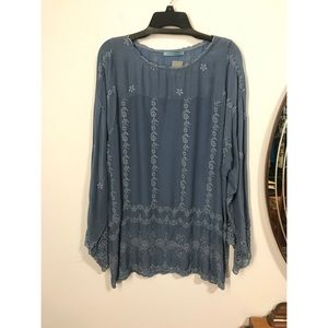 Johnny Was Embroidered & Crocheted Blouse